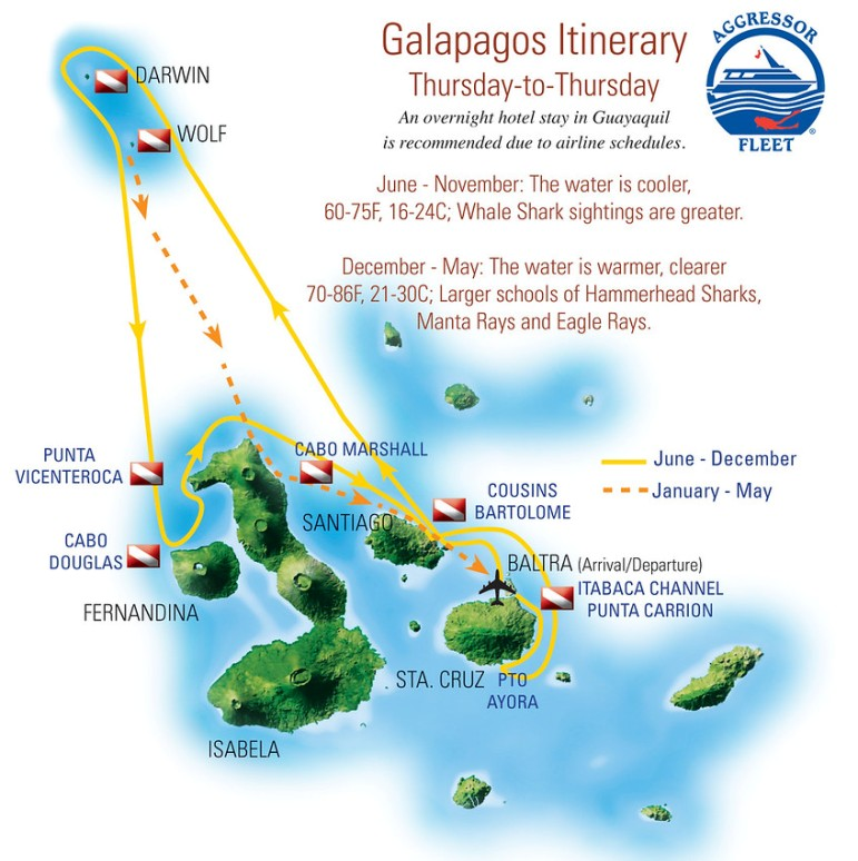 Galapagos AGGRESSOR itinerary map